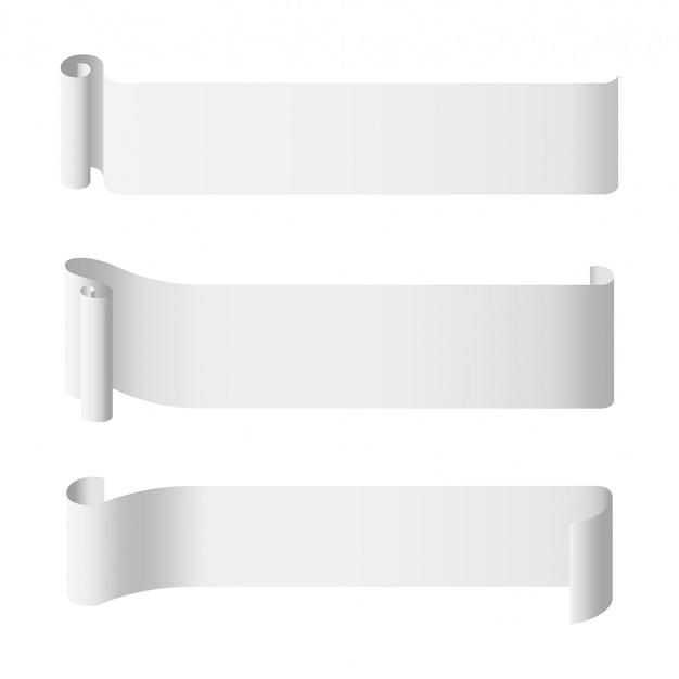Modèle De Bannière Longue Rouleau De Papier Blanc Vecteur Premium