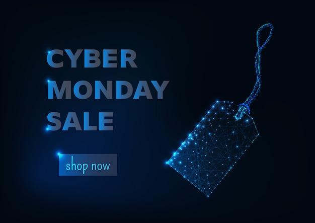 Modèle de bannière de magasinage en ligne cyber lundi vente Vecteur Premium
