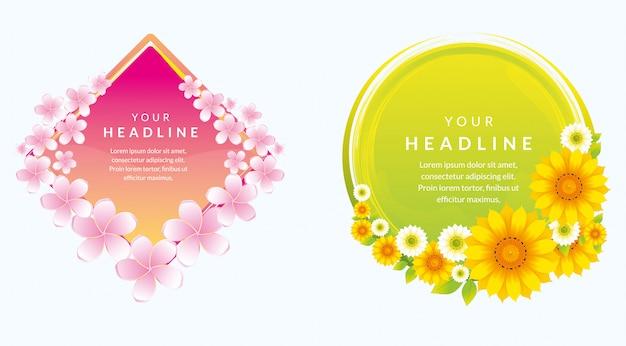 Modèle de bannière magnifique design avec fleur naturelle Vecteur Premium