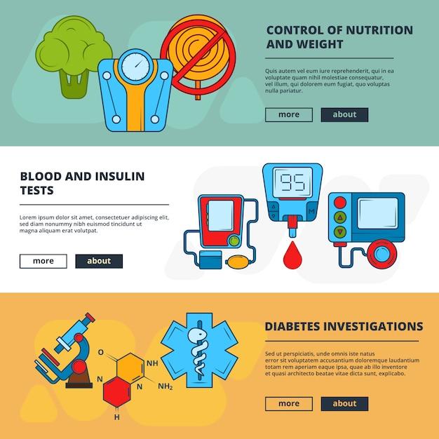 Modèle de bannière médical avec symboles diabétiques Vecteur Premium