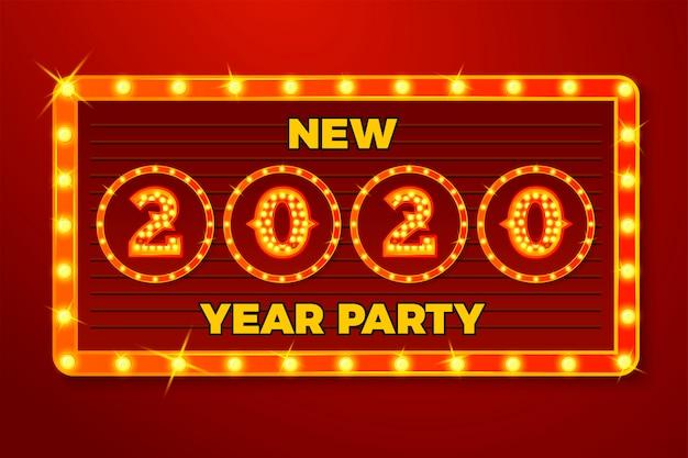 Modèle de bannière de nouvel an avec ampoule lumineuse numéros 2020 sur fond de panneau rouge Vecteur Premium