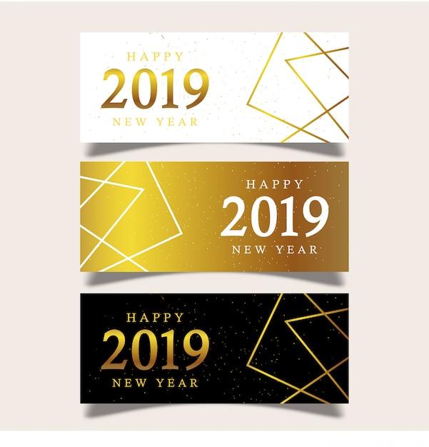 Modèle de bannière nouvel an avec des éléments géométriques Vecteur Premium