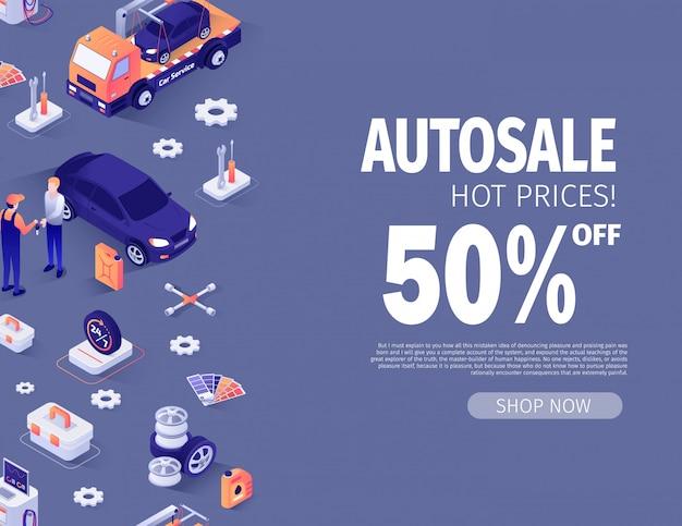 Modèle de bannière offrant jusqu'à 50% de remise automatique Vecteur Premium