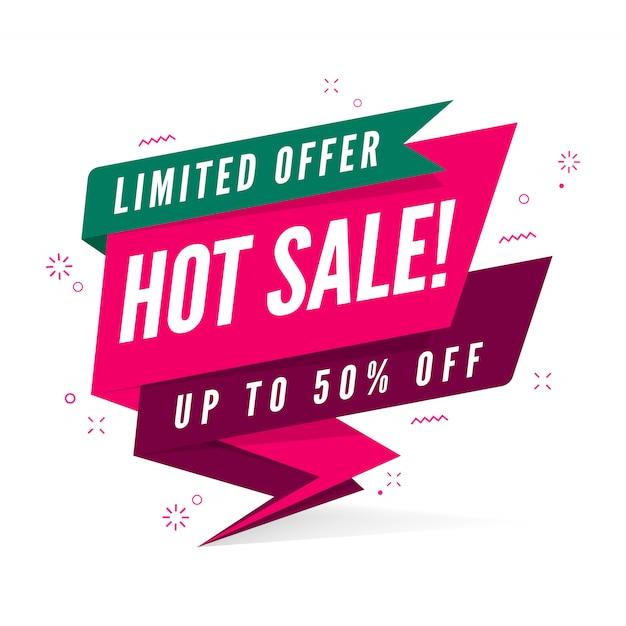 Modèle de bannière offre limitée vente chaude. Vecteur Premium