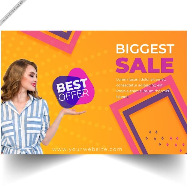 Modèle de bannière offre vente discount moderne Vecteur Premium
