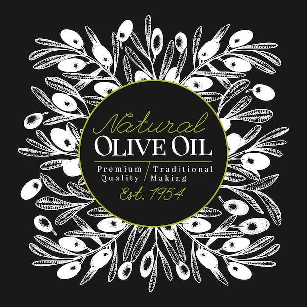 Modèle de bannière d'olivier. illustration rétro vectorielle à bord de la craie. Vecteur Premium