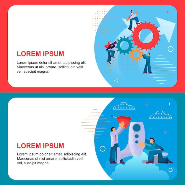 Modèle de bannière plat horizontal set carrière et promotion. Vecteur Premium