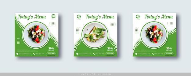 Modèle De Bannière De Post Instagram De Vente De Nourriture Et De Médias Sociaux Vecteur Premium