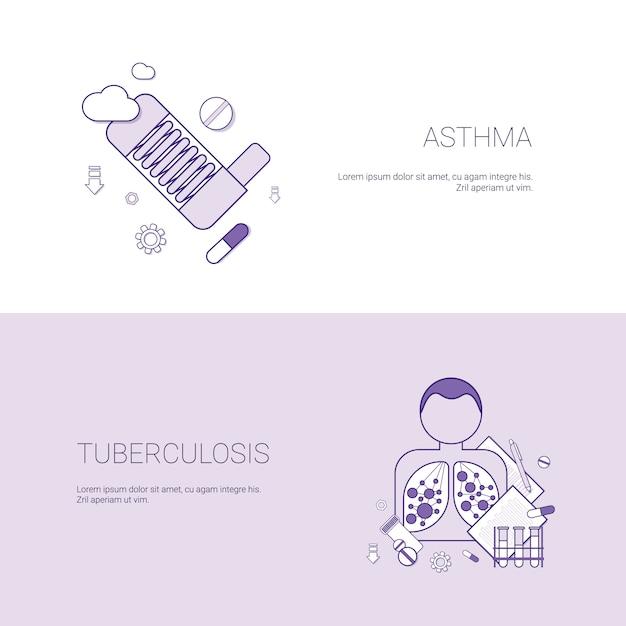 Modèle de bannière pour le concept de maladies de l'asthme et de la tuberculose Vecteur Premium