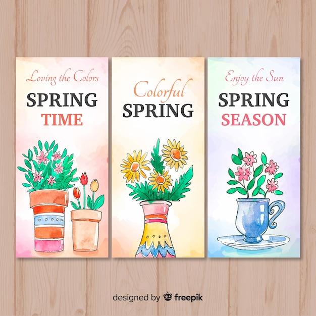 Modèle de bannière printemps aquarelle Vecteur gratuit