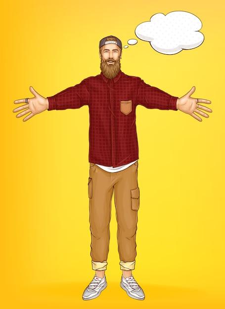 Modèle de bannière de promotion avec homme hipster Vecteur gratuit