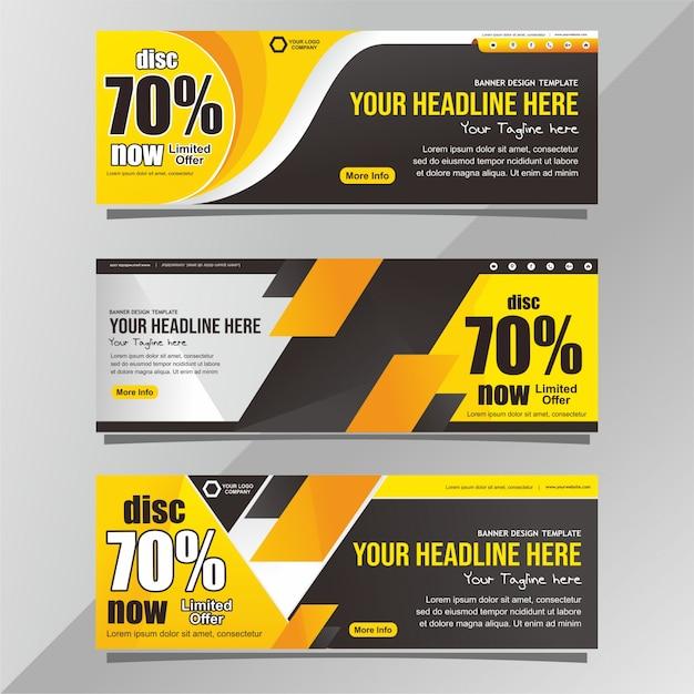 Modèle de bannière de promotion noir et jaune Vecteur Premium
