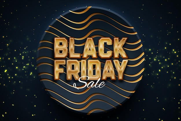 Modèle de bannière de promotion de vente vendredi noir sur fond sombre. Vecteur Premium