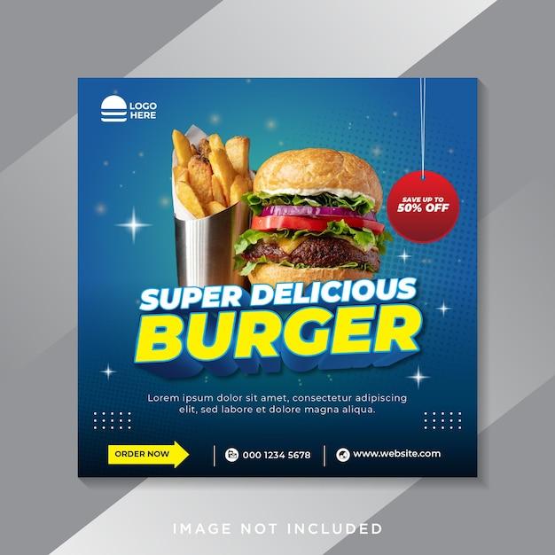 Modèle De Bannière De Publication De Médias Sociaux De Hamburger Alimentaire Vecteur Premium