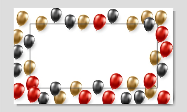 Modèle de bannière publicitaire vendredi noir avec des ballons Vecteur Premium