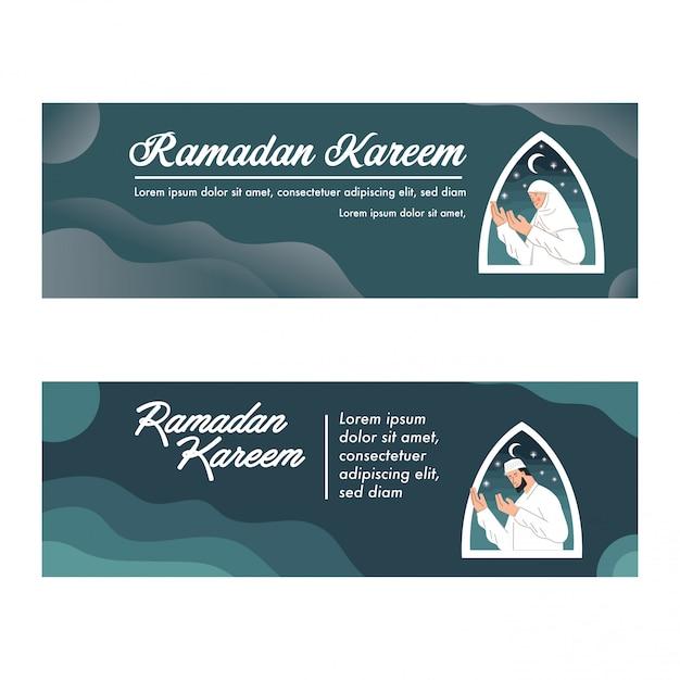 Modèle de bannière de ramadan kareem avec vector illustration priant musulman Vecteur Premium