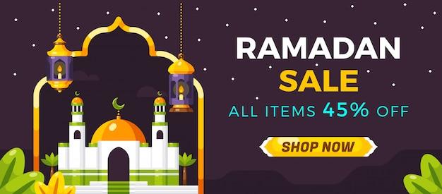 Modèle de bannière ramadan sale pour les médias sociaux Vecteur Premium