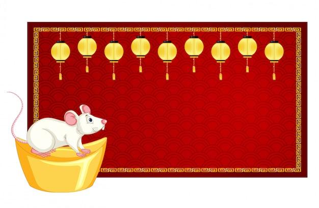 Modèle De Bannière Avec Rat Sur Or Vecteur gratuit