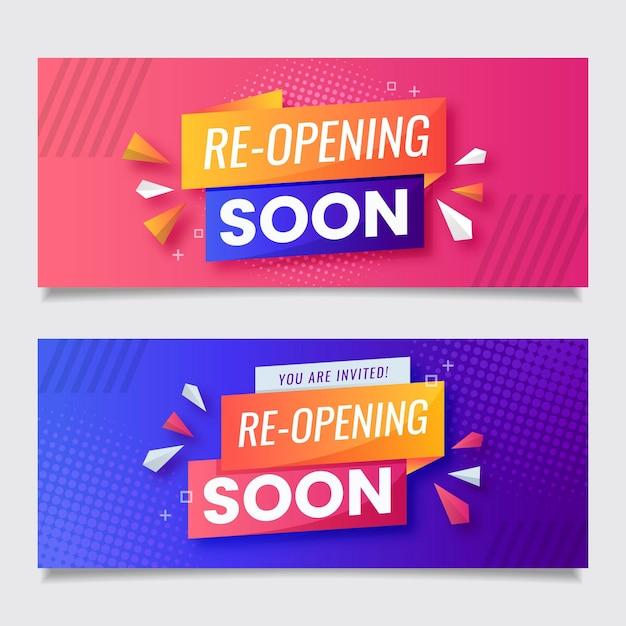 Modèle De Bannière De Réouverture Rose Et Violet Bientôt Vecteur Premium