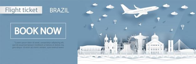 Modèle de bannière de réservation de billet d'avion vers le brésil Vecteur Premium