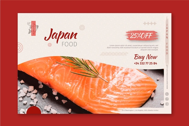 Modèle De Bannière De Restaurant Japonais Vecteur gratuit