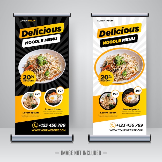 Modèle De Bannière Roll Up Restaurant Alimentaire Vecteur Premium