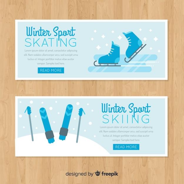 Modèle de bannière de ski de patinage Vecteur gratuit