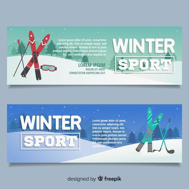 Modèle de bannière de sport d'hiver Vecteur gratuit