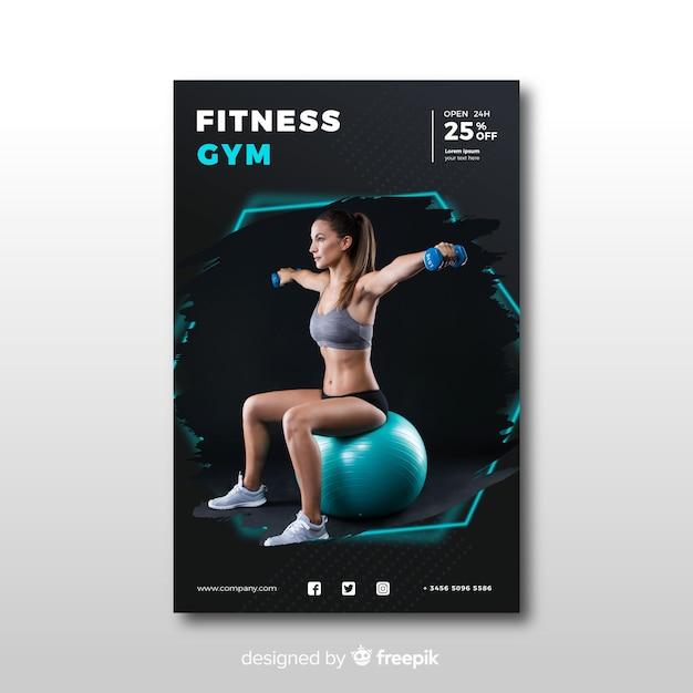 Modèle de bannière de sport avec photo Vecteur gratuit
