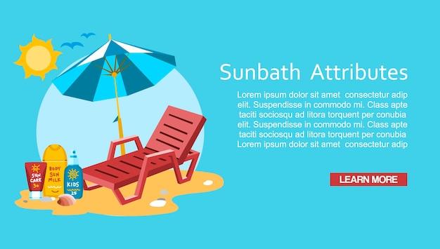 Modèle de bannière de sunbath summer time vacation vacation Vecteur Premium