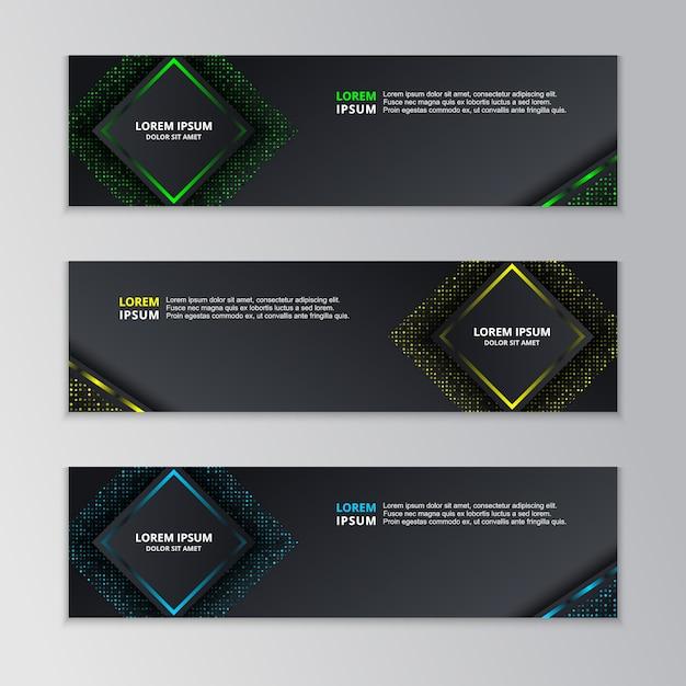 Modèle de bannière techno dark glowing Vecteur Premium
