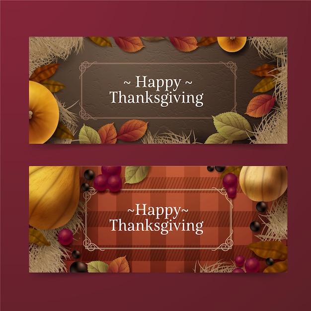 Modèle De Bannière De Thanksgiving Réaliste Vecteur gratuit
