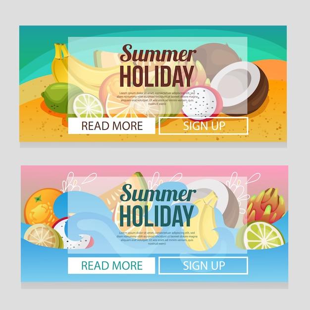 Modèle de bannière de vacances d'été coloré avec des fruits exotiques Vecteur Premium