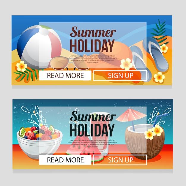 Modèle de bannière de vacances été coloré avec illustration vectorielle de boisson été Vecteur Premium