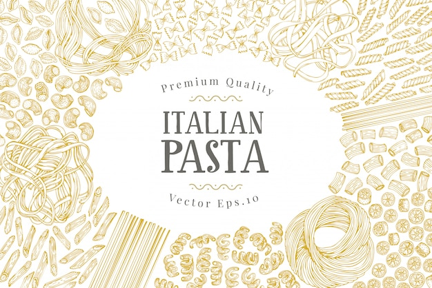 Modèle de bannière de vecteur avec différents types de pâtes italiennes traditionnelles. Vecteur Premium