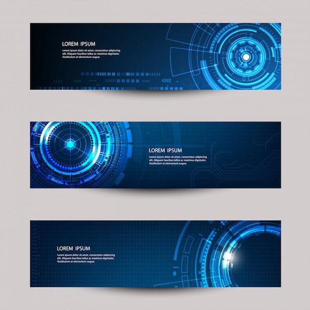 Modèle de bannière de vecteur de technologie futuriste abstraite. Vecteur Premium