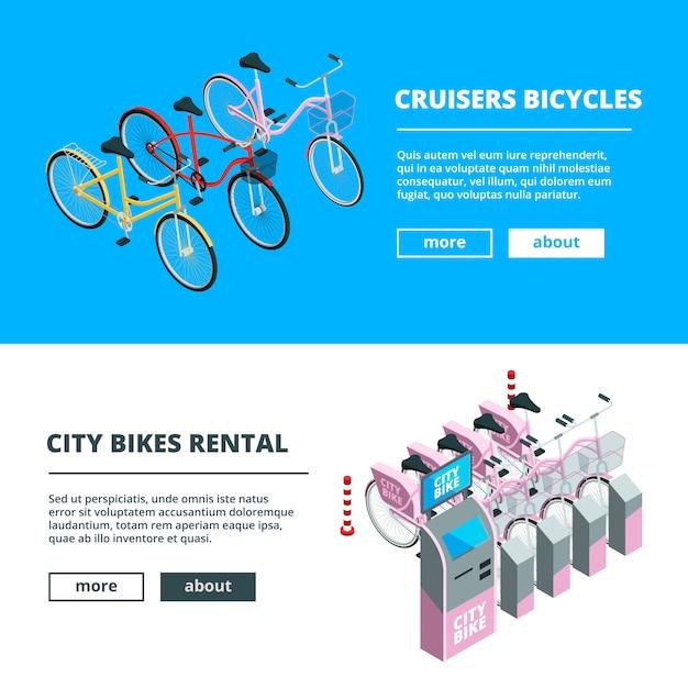 Modèle de bannière avec des vélos. photos de vélos isométriques Vecteur Premium