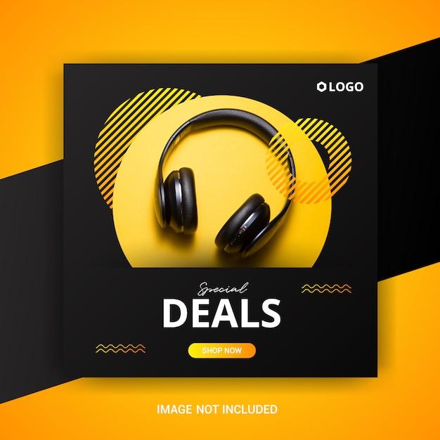 Modèle de bannière de vente carré avec des écouteurs Vecteur Premium