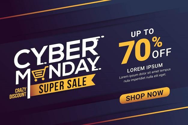 Modèle De Bannière De Vente Cyber Monday Vecteur Premium