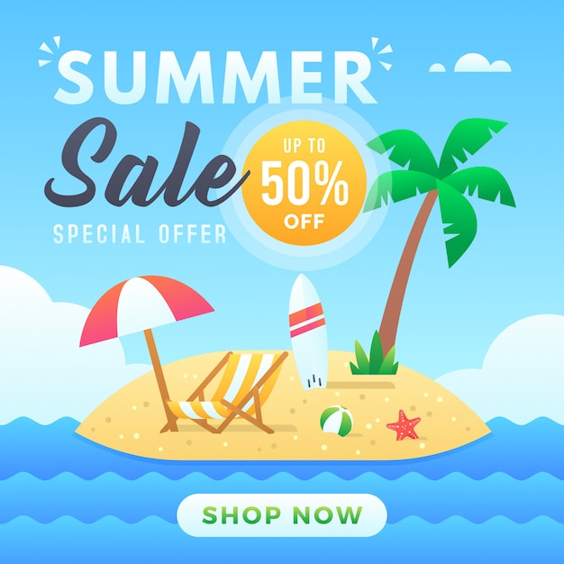 Modèle de bannière de vente d'été Vecteur Premium