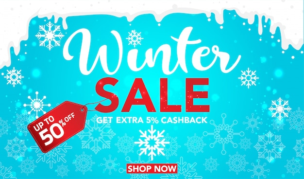 Modèle de bannière de vente hiver avec des flocons de neige sur fond bleu Vecteur Premium