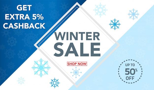 Modèle de bannière de vente hiver avec fond de flocons de neige Vecteur Premium