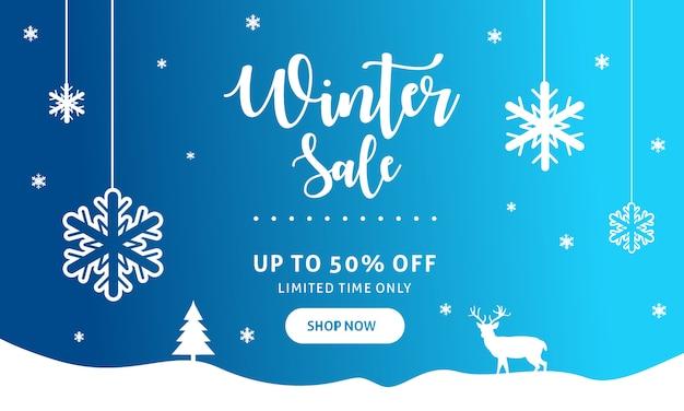 Modèle De Bannière De Vente D'hiver Vecteur Premium