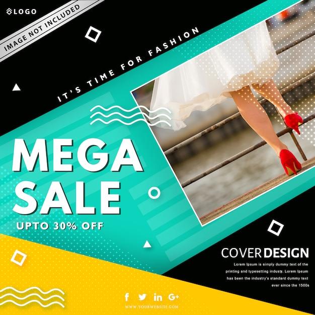 Modèle de bannière de vente mega. jusqu'à 30% de réduction Vecteur Premium