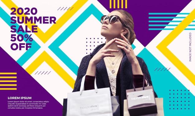 Modèle de bannière de vente de mode Vecteur Premium
