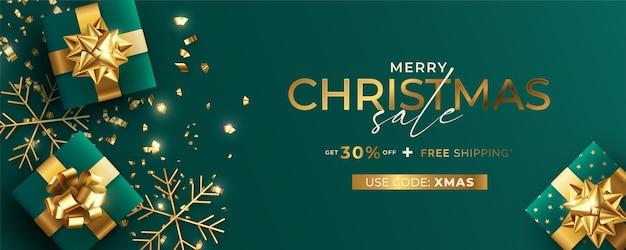 Modèle De Bannière De Vente De Noël Réaliste Vert Et Or Vecteur gratuit