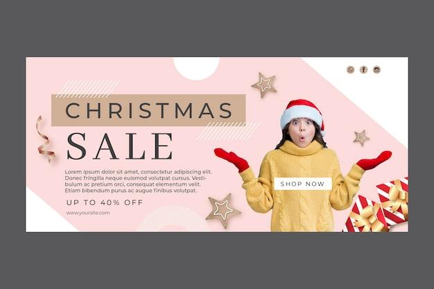 Modèle De Bannière De Vente De Noël Vecteur gratuit