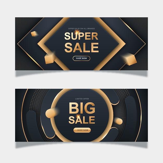 Modèle de bannière de vente d'or réaliste Vecteur gratuit