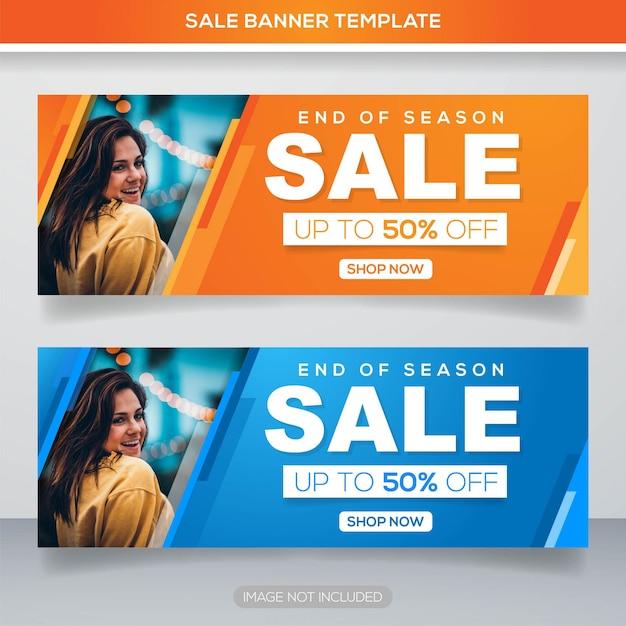 Modèle de bannière de vente promotion avec concept coloré Vecteur Premium
