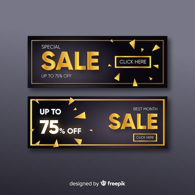 Modèle de bannière de vente promotionnelle d'or Vecteur gratuit